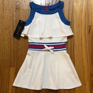 Girls Tommy Hilfiger White Blue Pink Tiered Dress
